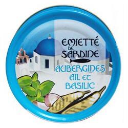 Emietté de sardines aubergines aïl et basilic