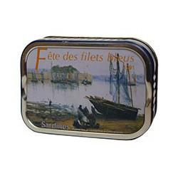 "Sardines in olive oil, poster of ""Festival filets bleus 1991"""
