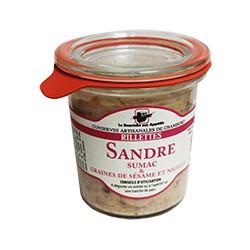 Rillettes de sandre sumac graines de sésame et nigelle