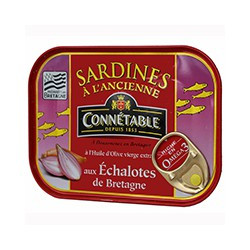 Sardines à l'huile d'olive vierge extra et aux échalotes de Bretagne