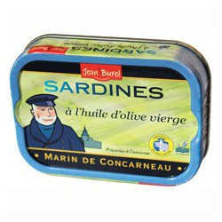 "Sardines in virgin olive oil,"" Marin de Concarneau""."