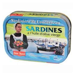 """Sardines in virgin olive oil, """"La Sardinière de Concarneau""""."""