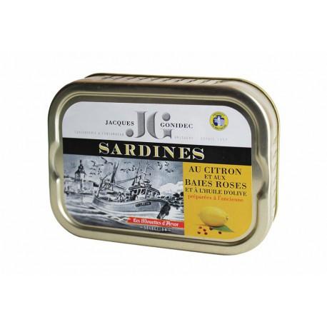 Sardines au citron et aux baies roses à l'huile d'olive