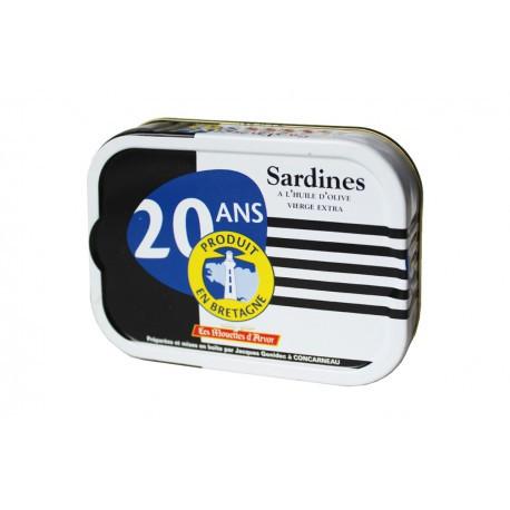 """Sardines à l'huile d'olive vierge extra, """"20 ans produit en Bretagne"""""""