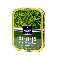 Sardines with sliced olives and rosemary