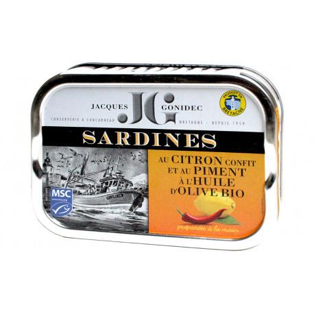 Sardines au citron confit et au piment et huile d'olive BIO