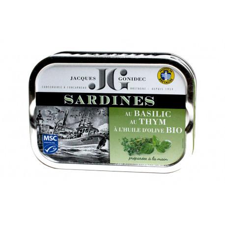 Sardines au basilic, au thym et à l'huile d'olive BIO