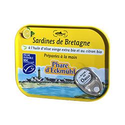 Sardines de Bretagne à l'huile d'olive vierge extra bio et au citron bio