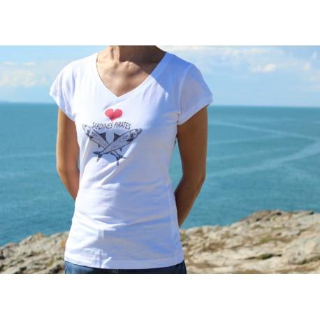 "T-shirt femme M ""Sardines Pirates"""